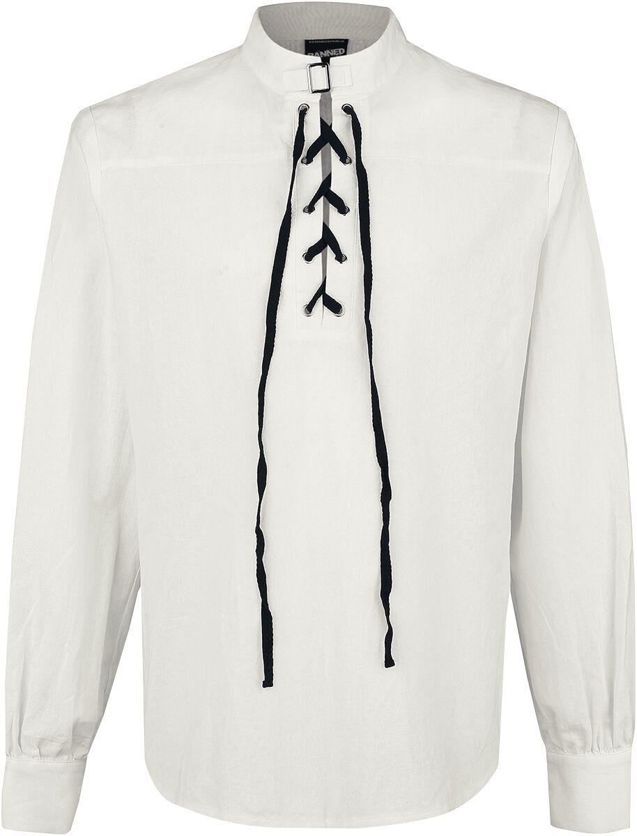 Image of   Banned Alternative Schnürhemd mit Schnalle Skjorte råhvid