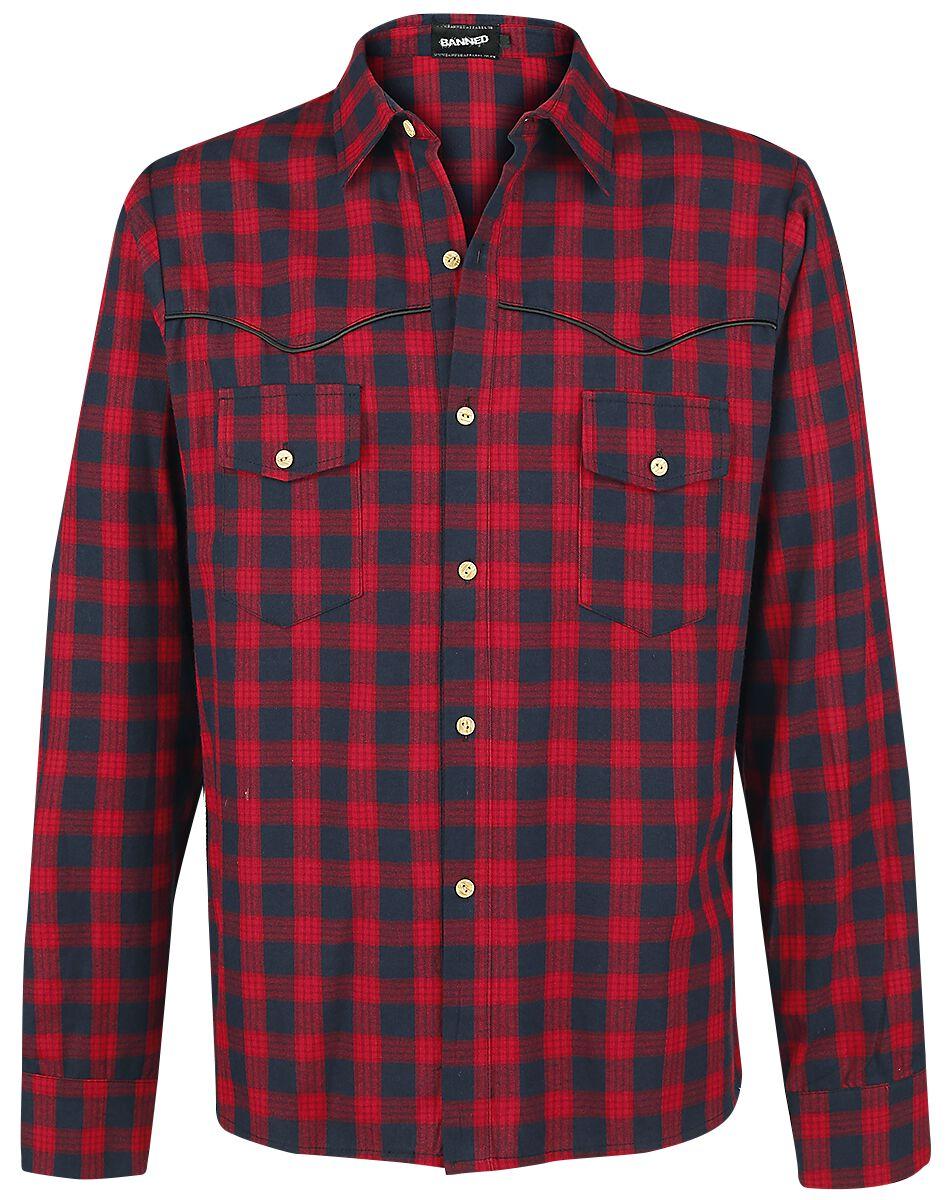 Image of   Banned Alternative Checkered Western Skjorte rød