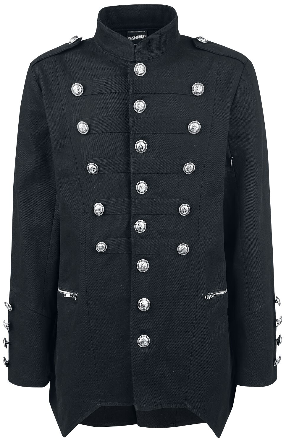 Image of   Banned Alternative Military Drummer Coat Frakke sort
