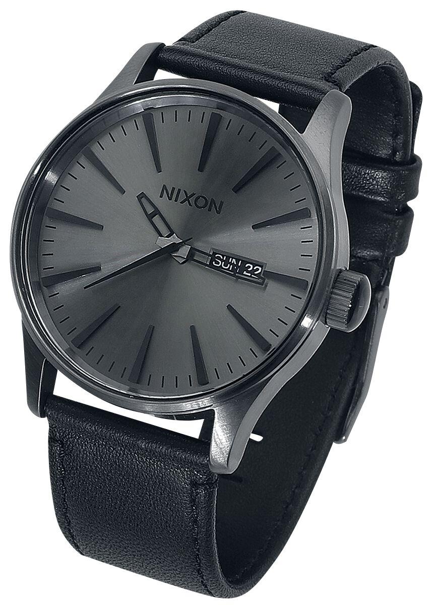 Image of   Nixon Sentry Leather - Gunmetal / Black Armbåndsur sort