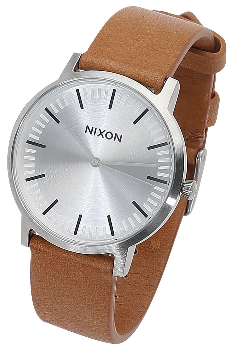 Image of   Nixon Porter Leather - Silver / Tan Armbåndsur lys brun