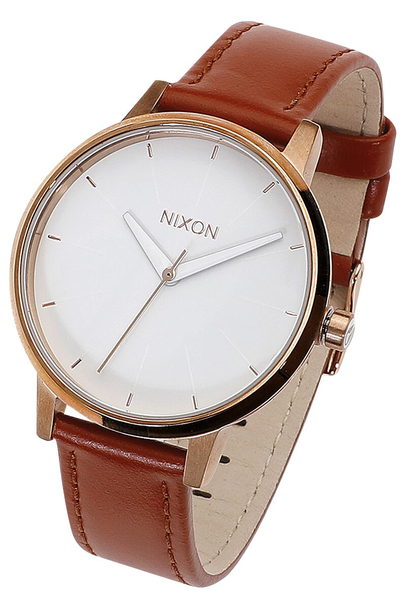 Image of   Nixon Kensington Leather - Rose Gold / White Armbåndsur lys brun
