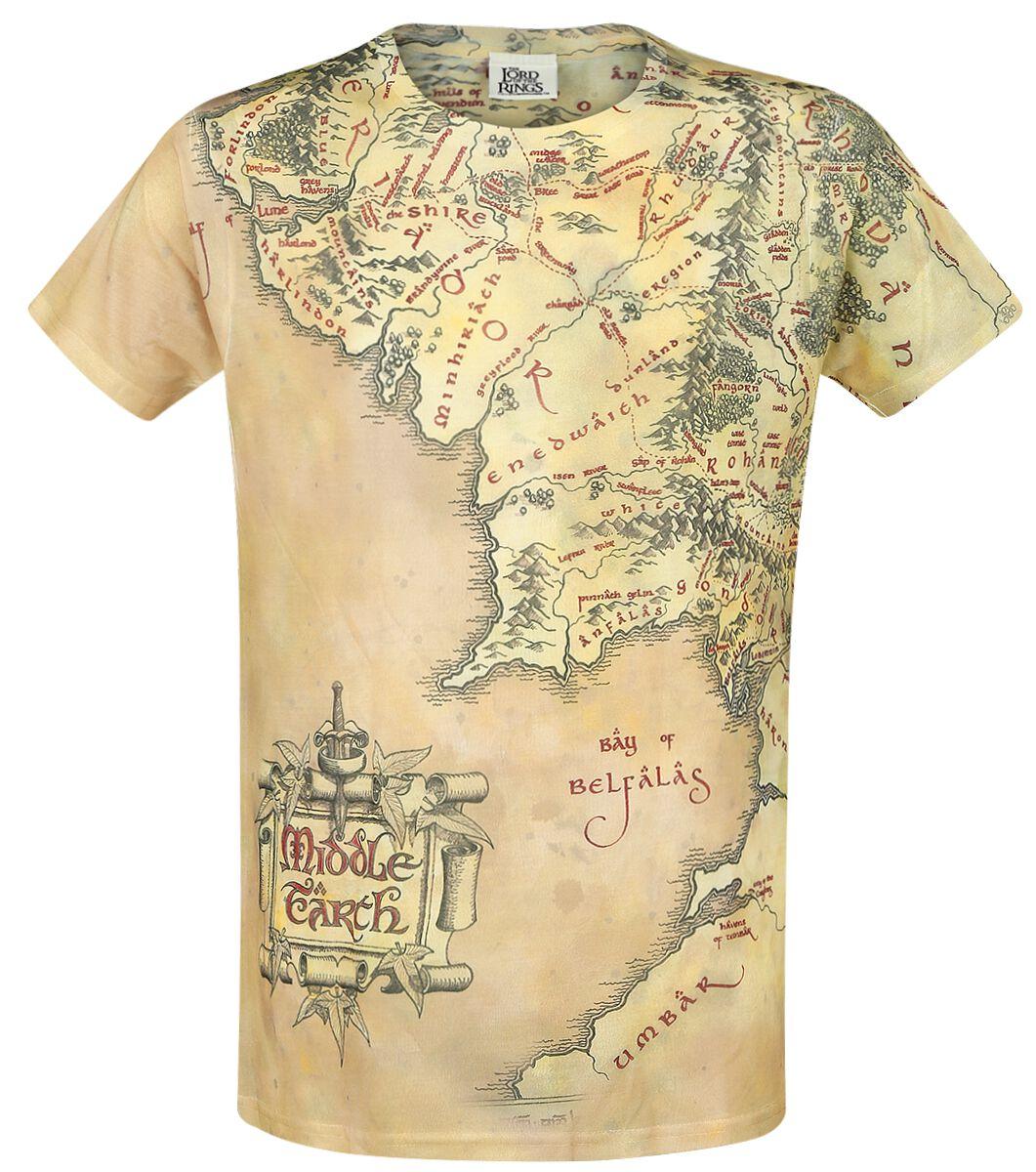Image of   Ringenes Herre Midgård-kort T-Shirt multifarvet
