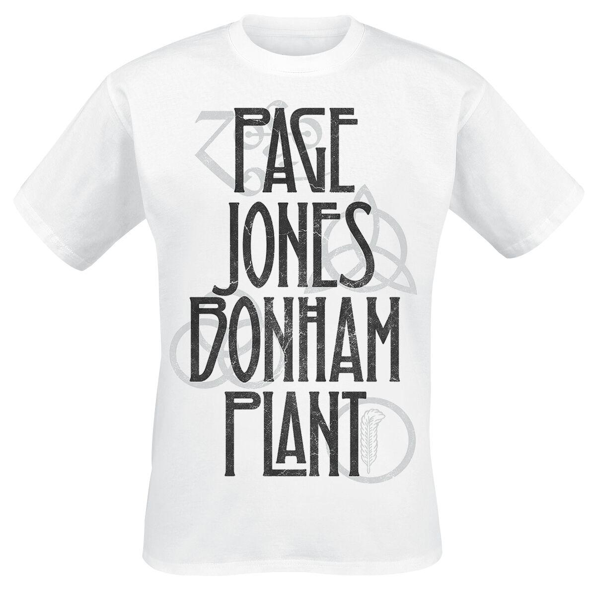 Image of   Led Zeppelin Page Jones Bonham Plant T-Shirt hvid