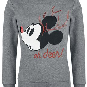 Mickey & Minnie Mouse Oh Deer Sweat-shirt Femme gris chiné