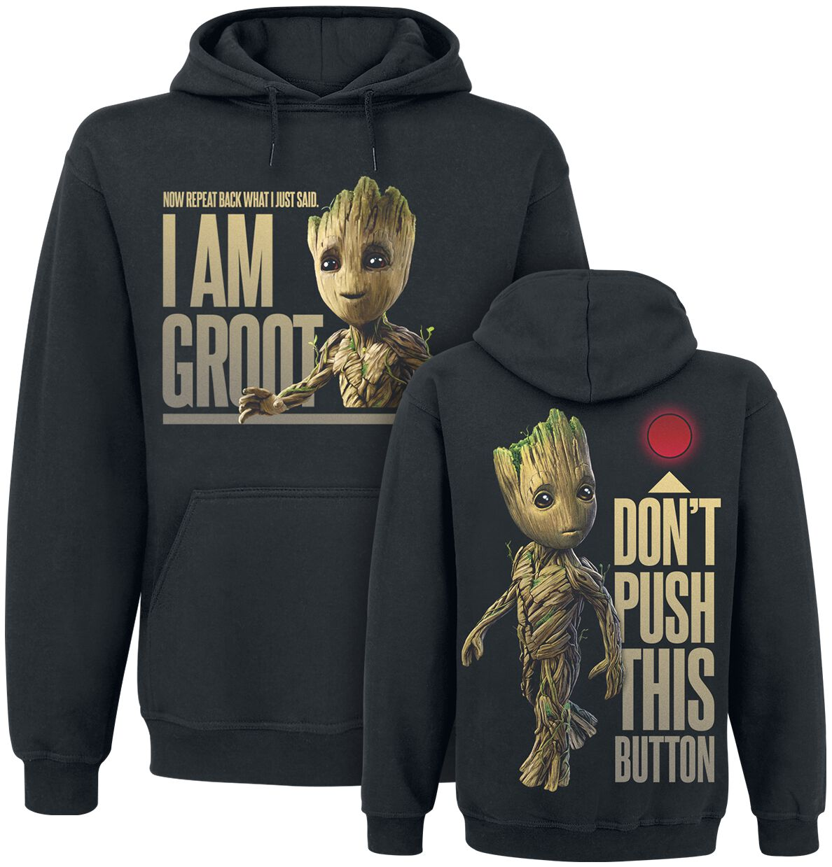 Image of   Guardians Of The Galaxy 2 - Groot - Button Hættetrøje sort