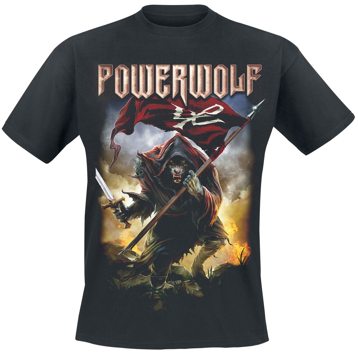 Image of   Powerwolf Wolf Warrior T-Shirt sort