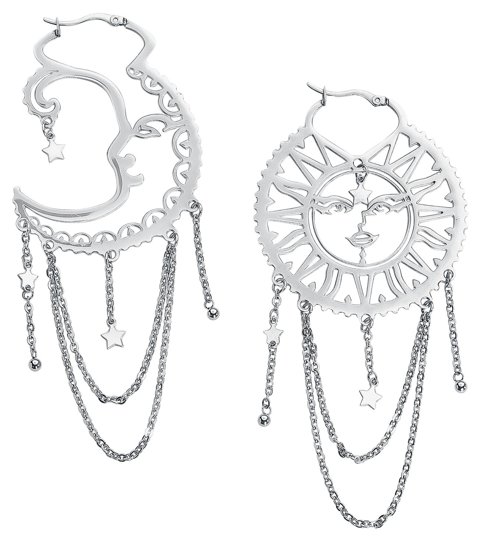 Image of   Wildcat Oldschool Sun Moon Hoops Øreringe sæt sølvfarvet