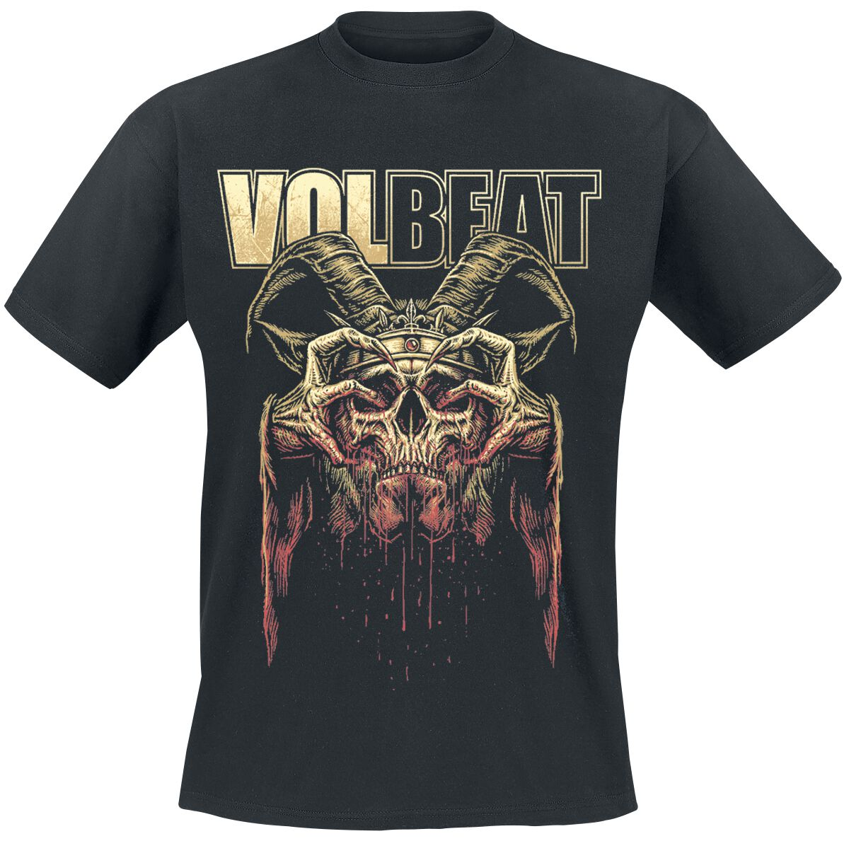 Image of   Volbeat Bleeding Crown Skull T-Shirt sort