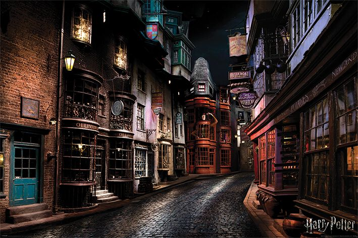 Image of   Harry Potter Diagon Alley Plakat multifarvet