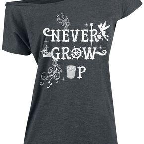 Peter Pan La Fée Clochette - Never Grow Up T-shirt Femme gris chiné