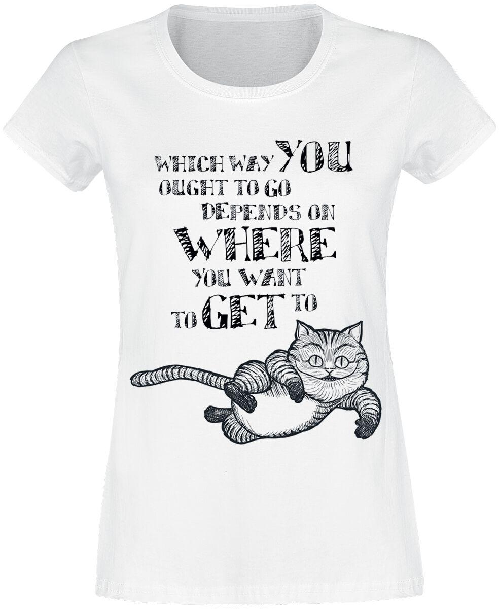 Image of   Alice i Eventyrland Grinsekatze - Which Way Girlie trøje hvid