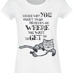 Alice Au Pays Des Merveilles Grinsekatze - Which Way T-shirt Femme blanc