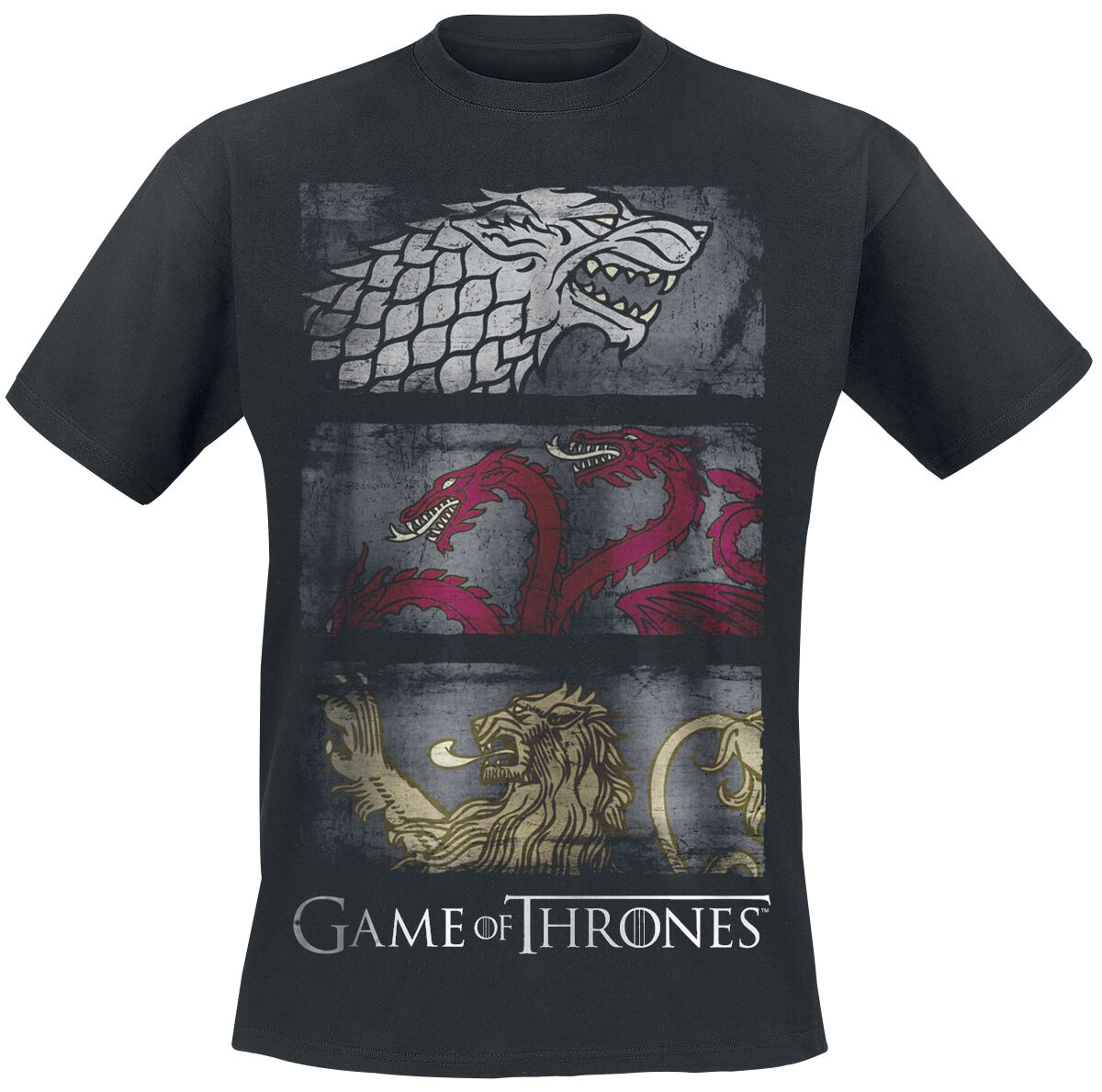 Image of   Game Of Thrones 3 Sigil Row T-Shirt sort