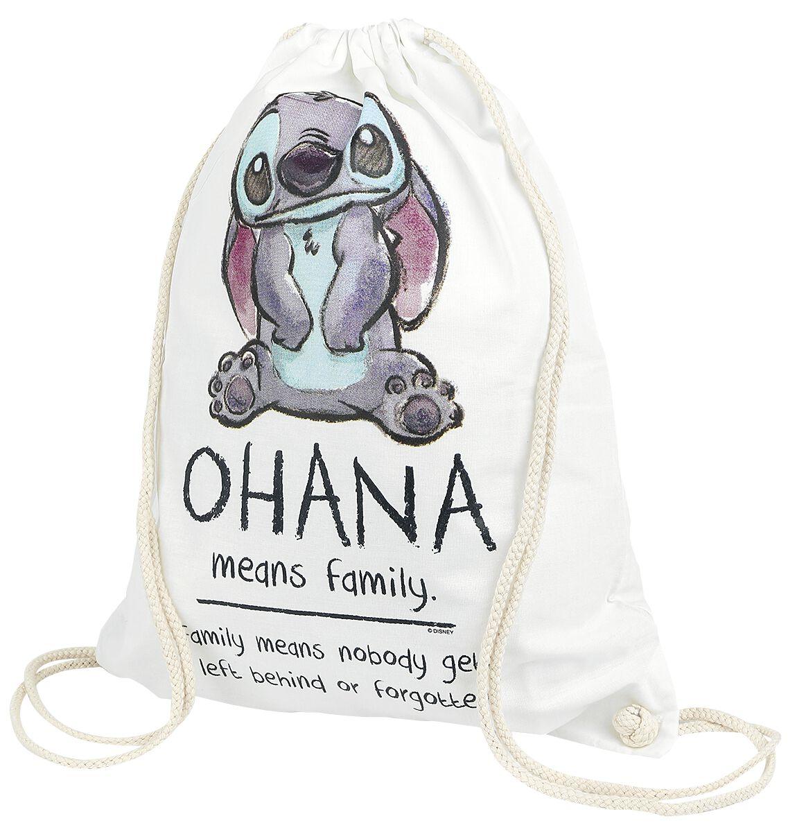 Sporttaschen für Frauen - Lilo and Stitch Ohana Turnbeutel weiß  - Onlineshop EMP