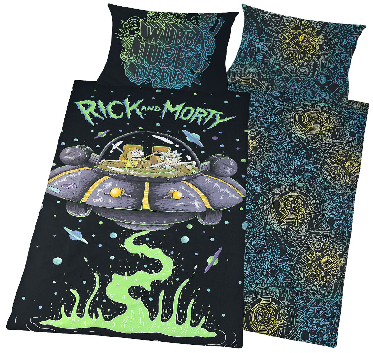 Image of   Rick And Morty Spaceship Sengesæt allover
