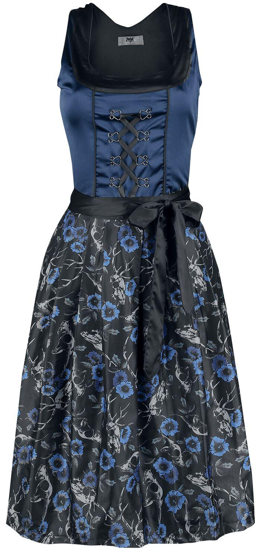 Kleider - Black Premium by EMP Hedi's Dirndl Mittellanges Kleid blau schwarz  - Onlineshop EMP