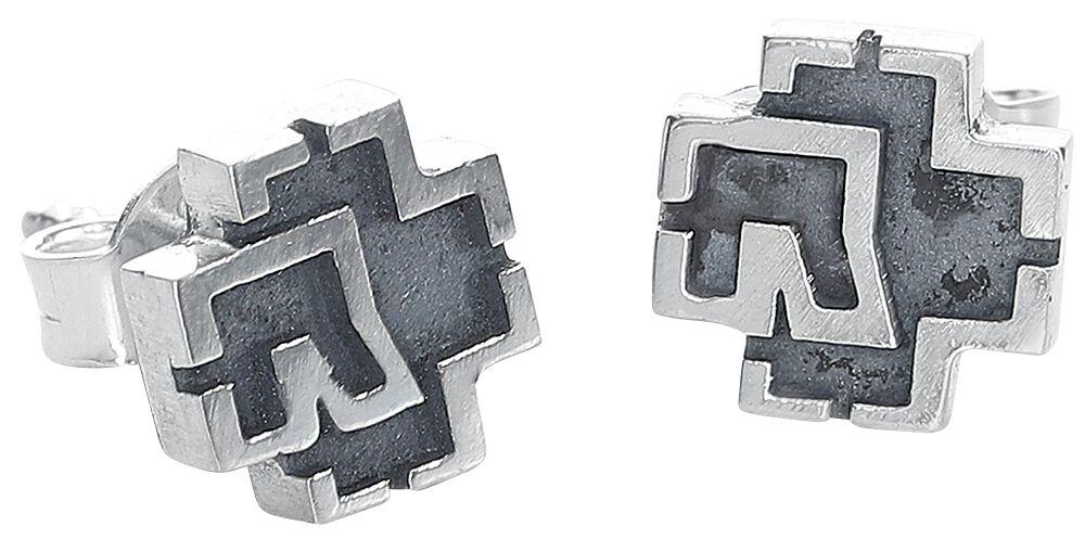 Image of   Rammstein Logo Ørestik sæt sølvfarvet