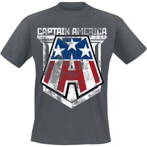 Captain America Distressed A T-shirt gris sombre chiné