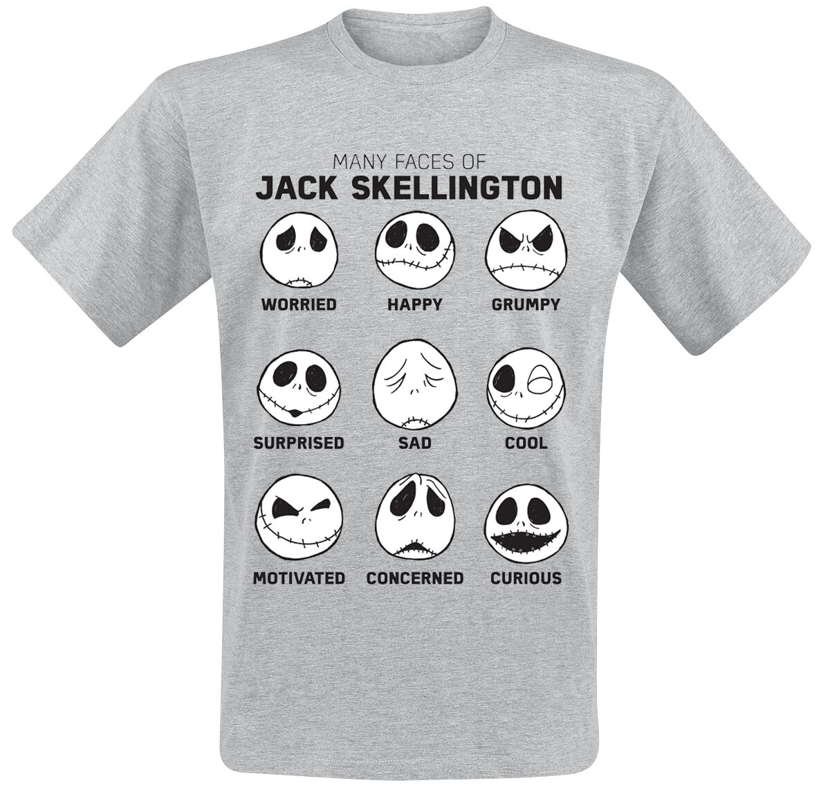 Image of   The Nightmare Before Christmas Many Faces Of Jack T-Shirt grålig