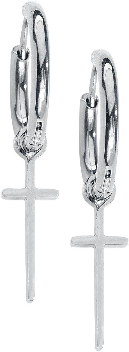 Image of   Wildcat Little Cross Hoops Øreringe sæt sølvfarvet