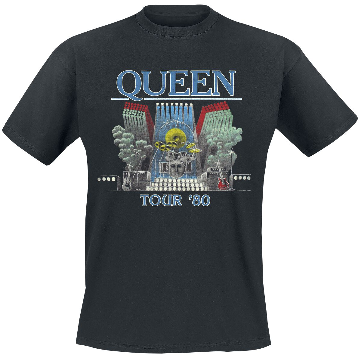 Image of   Queen Tour '80 T-Shirt sort