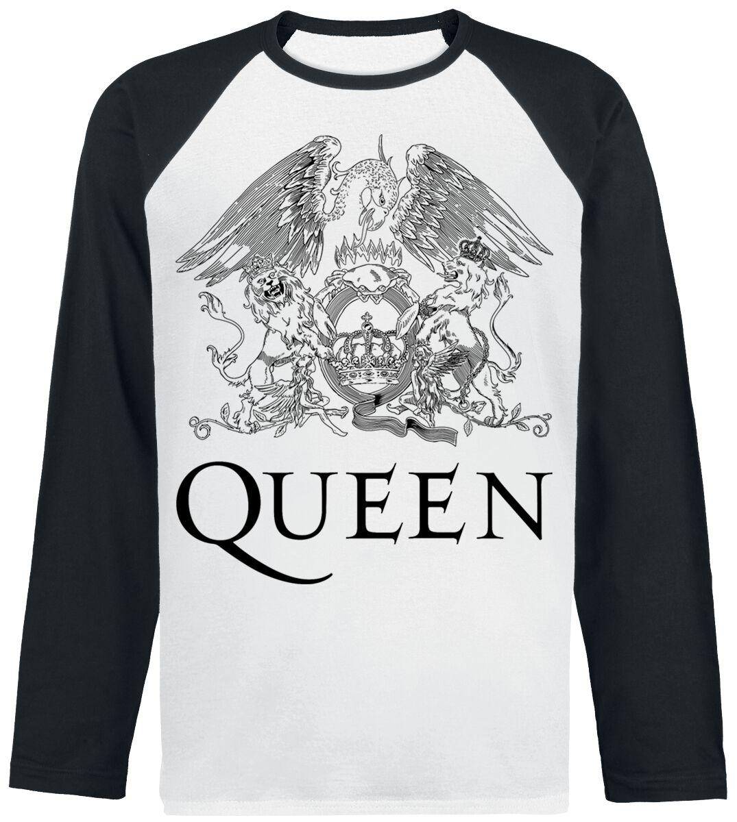 Image of   Queen Crest Vintage Langærmet sort-hvid