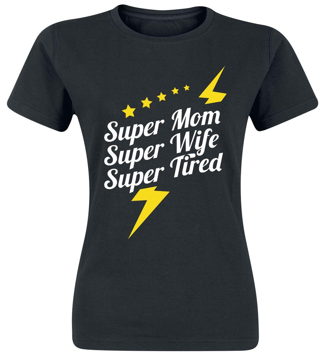 Image of   Super Mom - Super Wife - Super Tired Girlie trøje sort