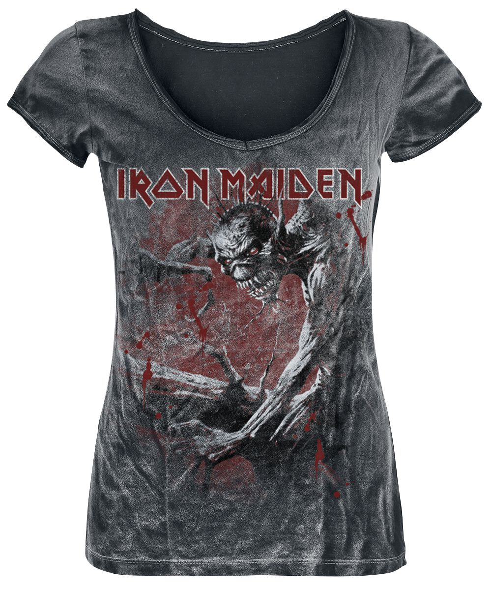 Image of   Iron Maiden Fear Of The Dark Vintage Girlie trøje sort-brugt look