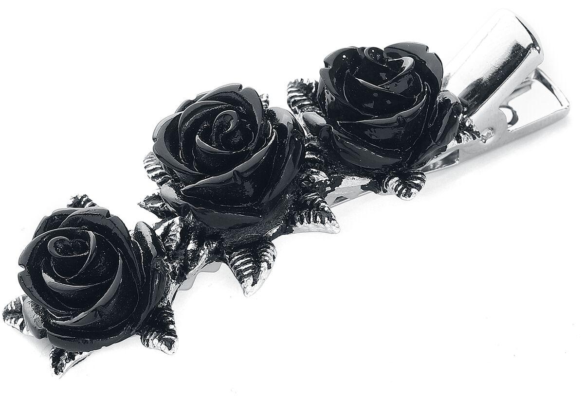 Image of   Alchemy Gothic Wild Black Rose Hårspænde sølvfarvet