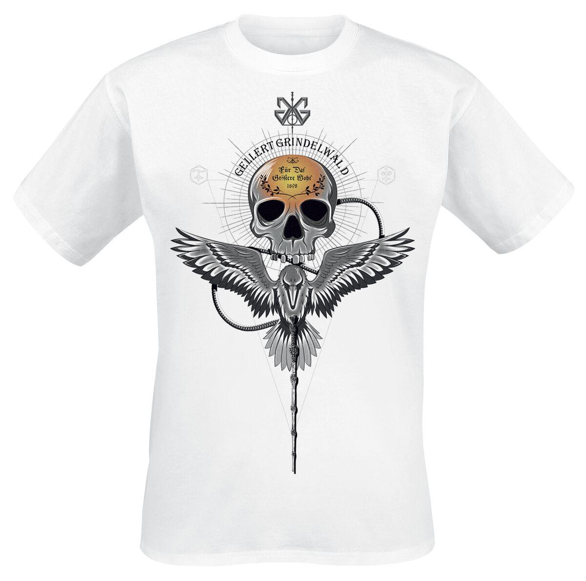 Image of   Fantastic Beasts Grindelwalds Verbrechen - Gellert Skull T-Shirt hvid