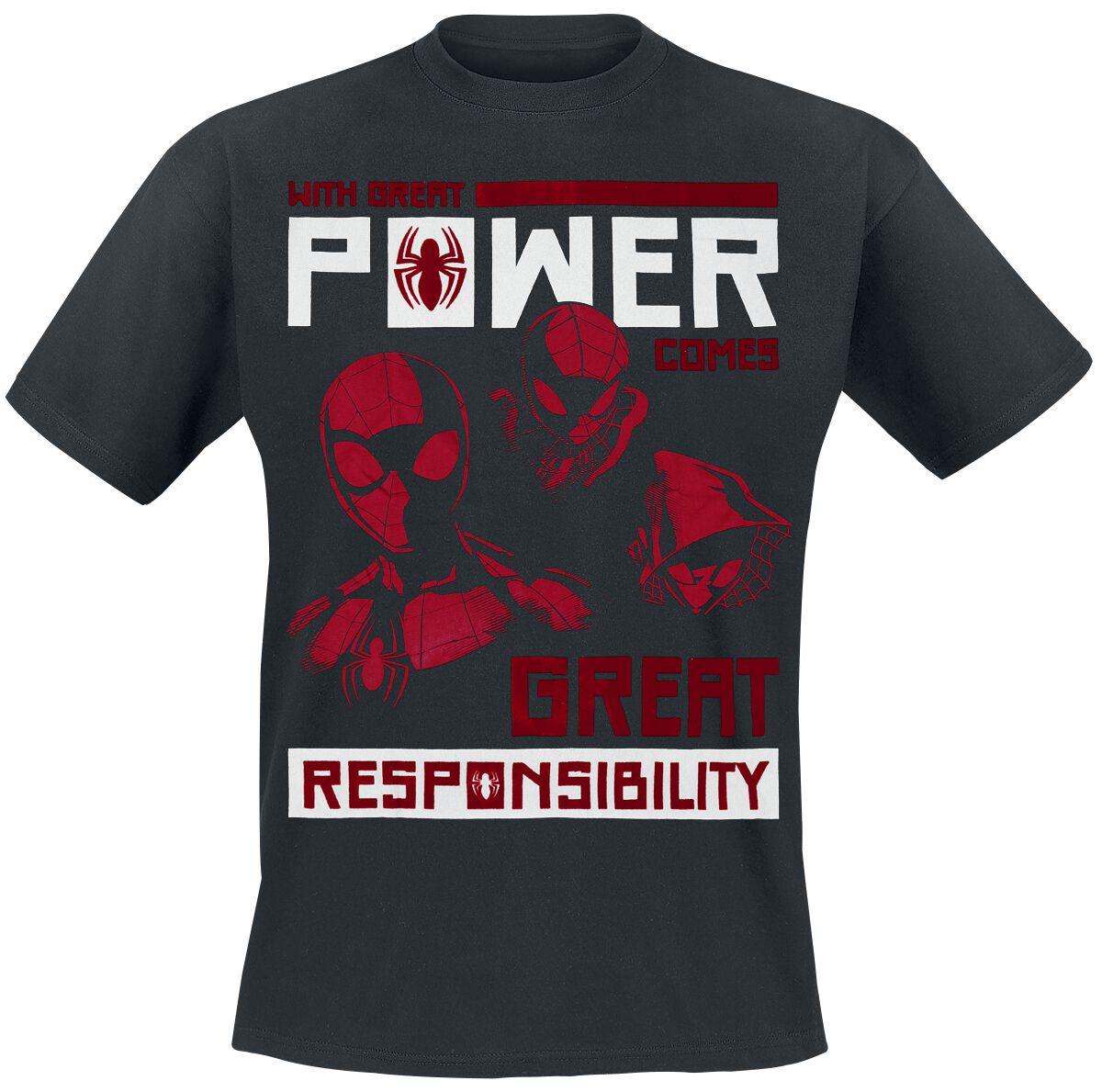 Image of   Spiderman Power Vs Responsibility T-Shirt sort