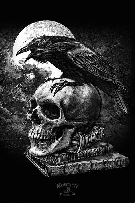 Image of   Alchemy England Poe's Raven Plakat sort-hvid
