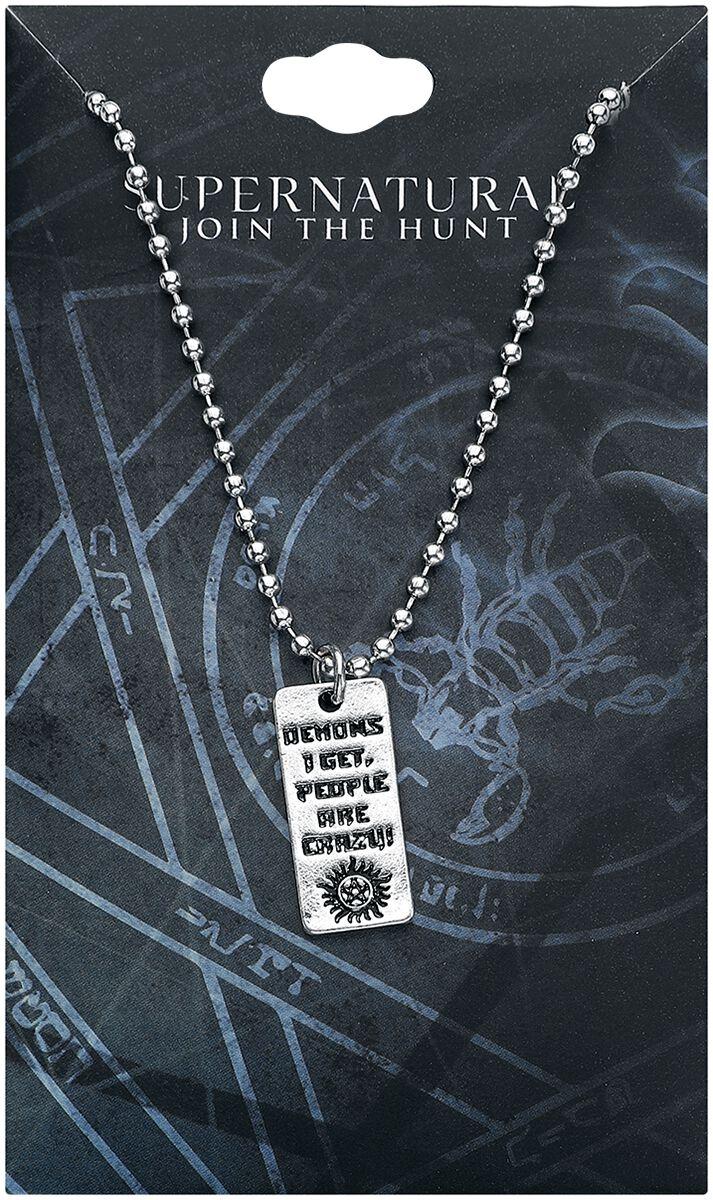 Image of   Supernatural People Are Crazy Halskæde sølvfarvet