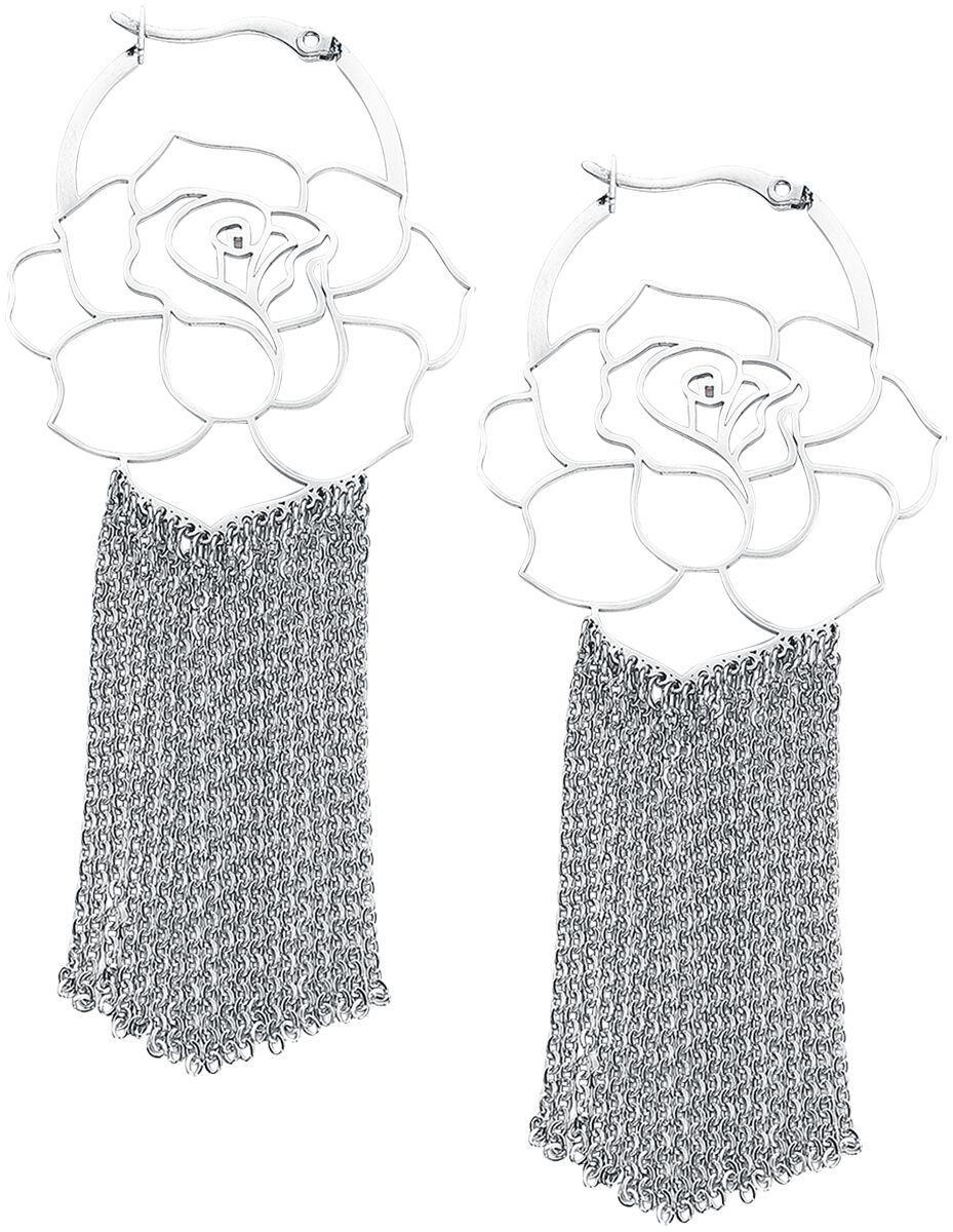 Image of   Wildcat Rose Hoops Øreringe sæt sølvfarvet