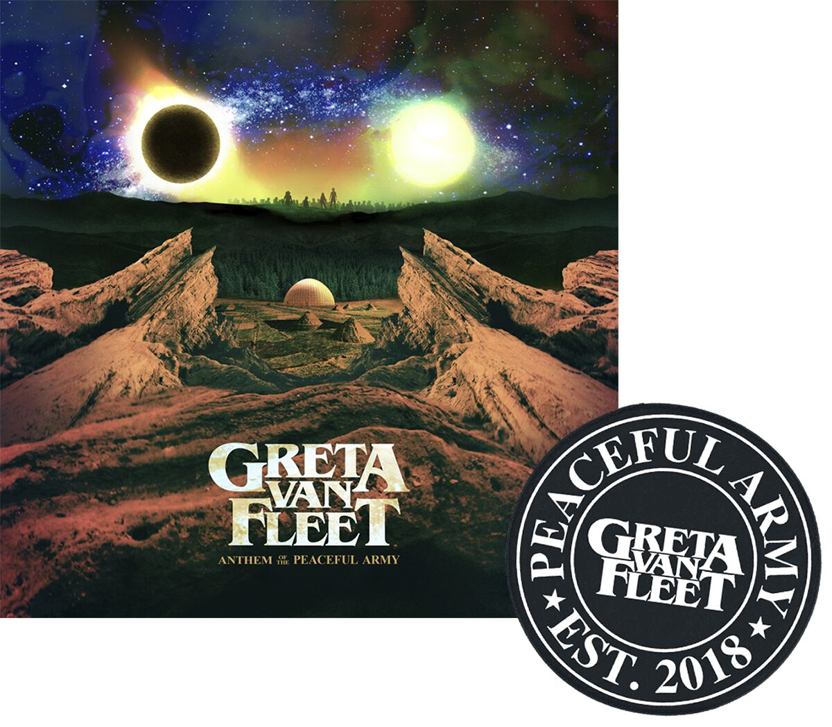 Image of   Greta Van Fleet Anthem of the peaceful army CD & Patch standard