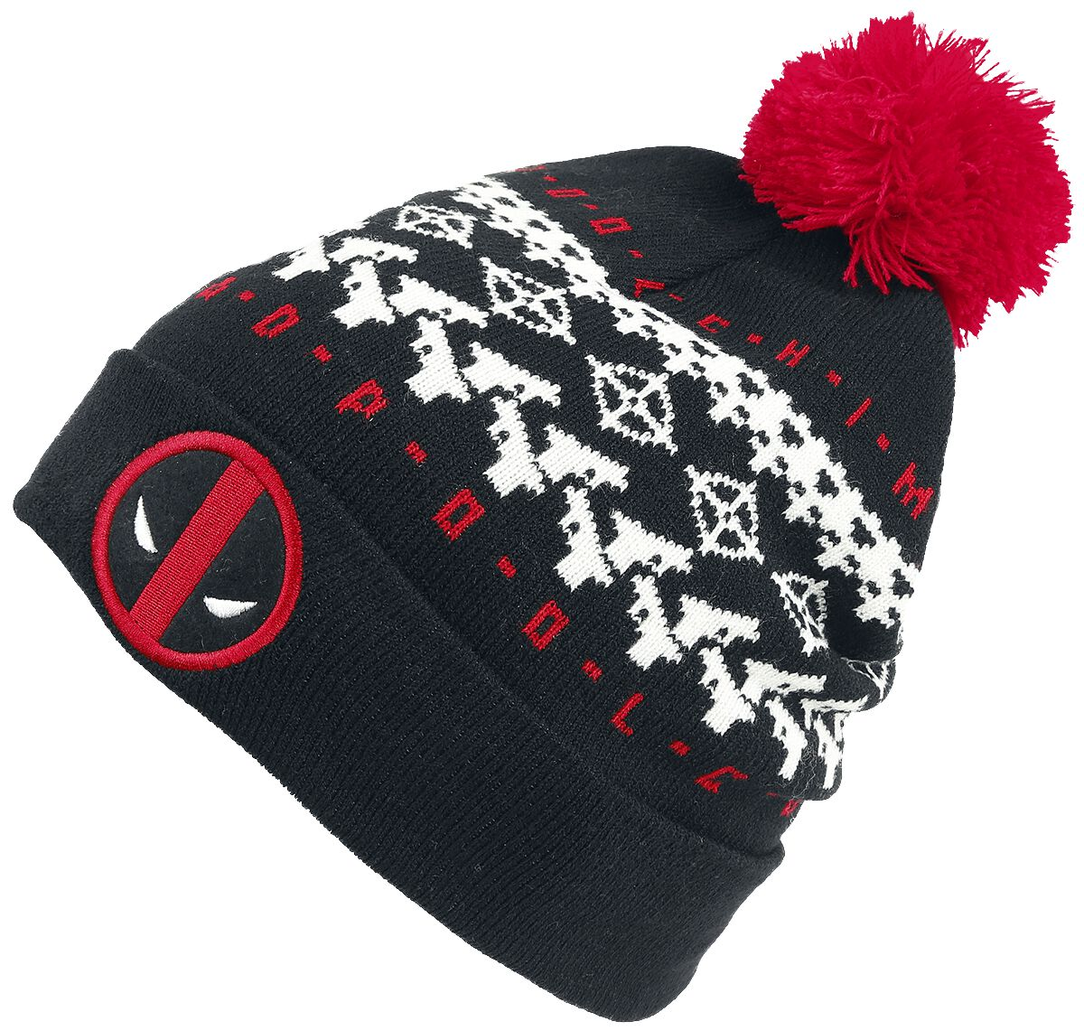 Image of   Deadpool Face Beanie sort-hvid-rød