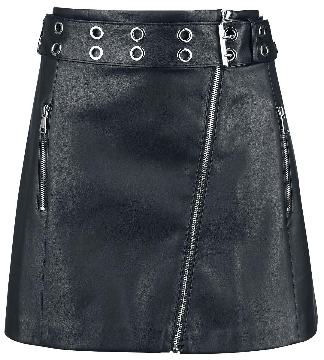 Roecke für Frauen - Forplay PU Asymetric Skirt Kurzer Rock schwarz  - Onlineshop EMP