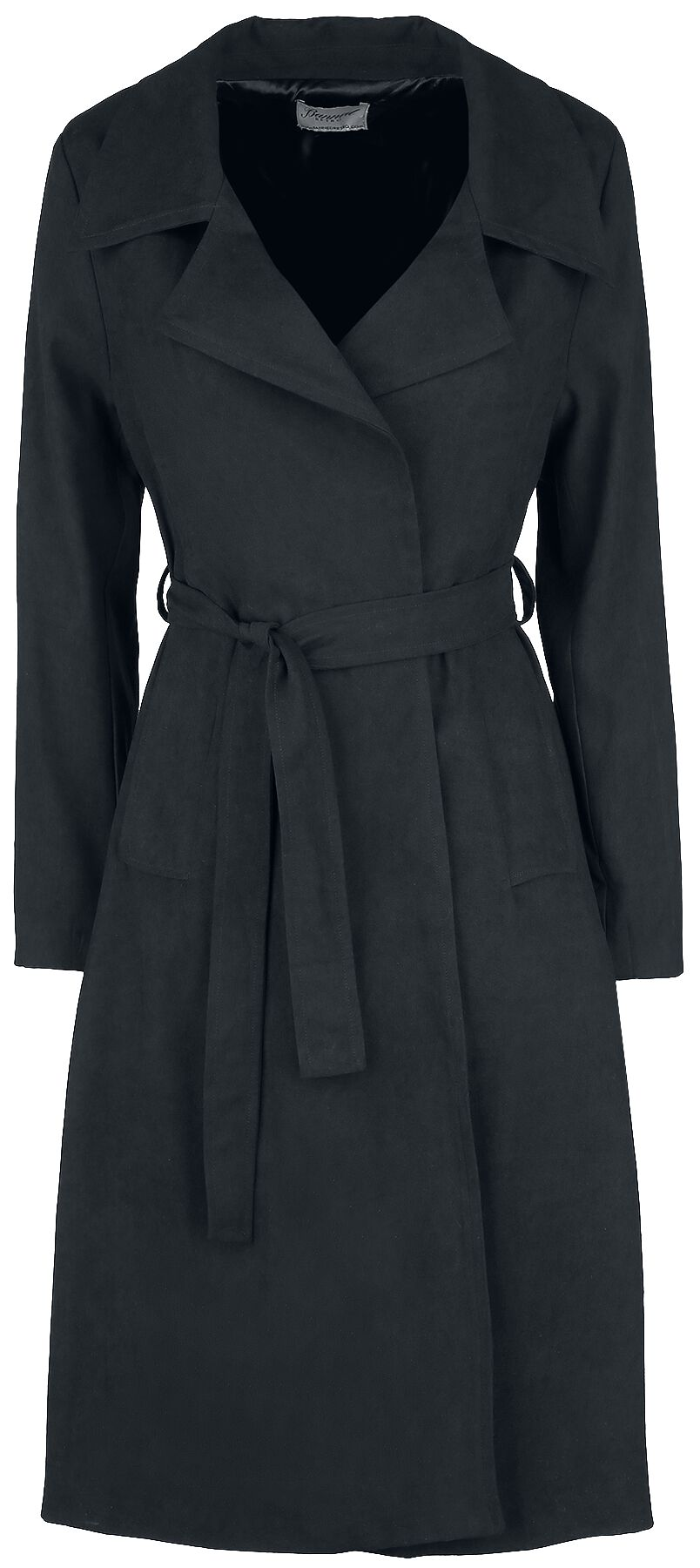 Image of Banned Retro Tie Front Trench Cappotto donna nero