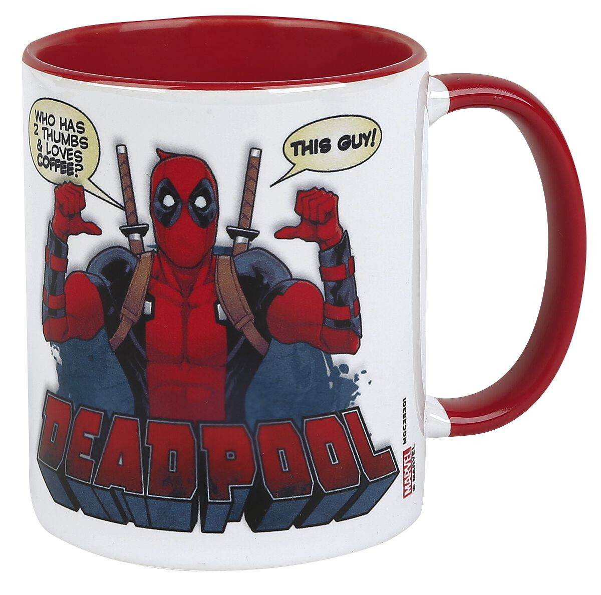 Image of   Deadpool 2 Thumbs Krus hvid-rød