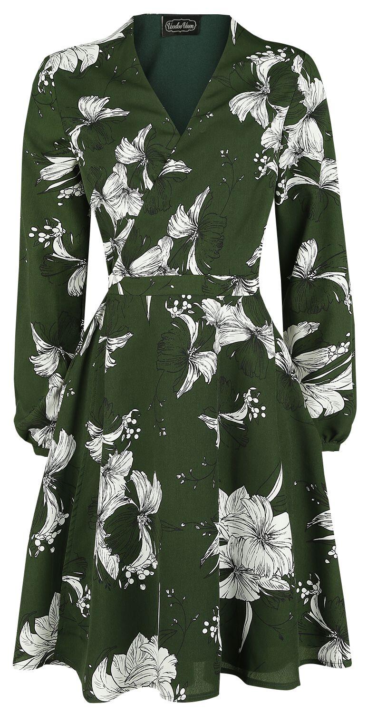 Kleider für Frauen - Voodoo Vixen Molly Floral Wrap Dress Kleid grün  - Onlineshop EMP