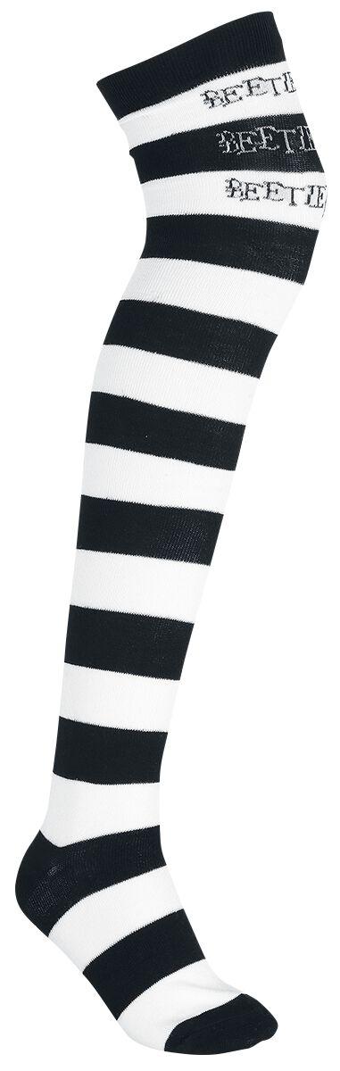 Socken für Frauen - Beetlejuice Beetlejuice Overknees schwarz weiß  - Onlineshop EMP
