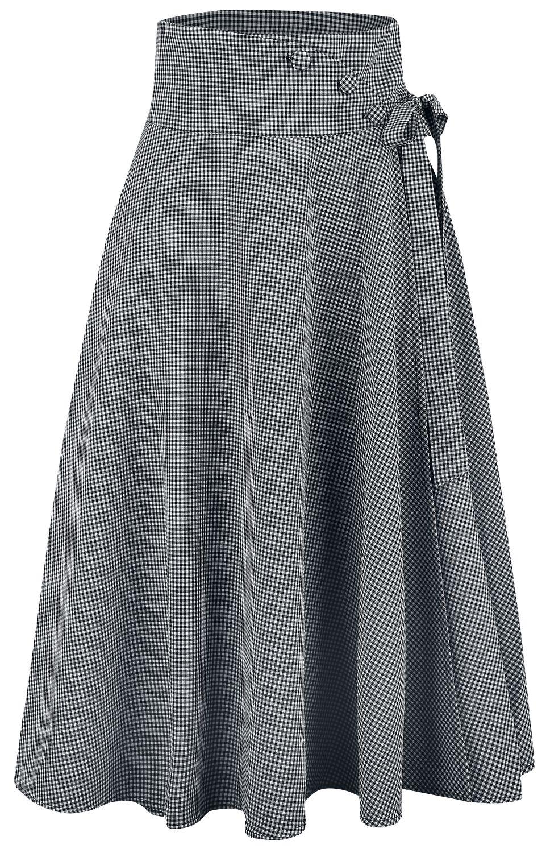 Roecke für Frauen - Voodoo Vixen Elizabeth Curved Waist Bow Skirt Mittellanger Rock grau  - Onlineshop EMP