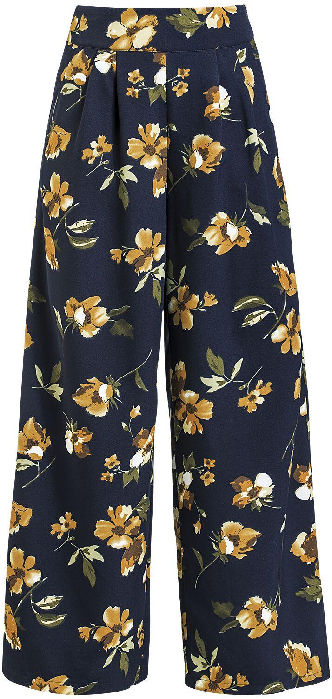 Hosen für Frauen - Voodoo Vixen Emilia Yellow Floral Palazzo Pants Stoffhose schwarz  - Onlineshop EMP