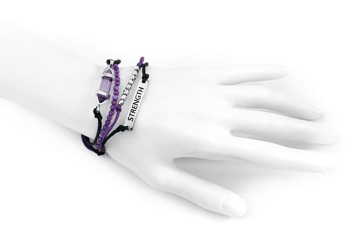 Image of Blackheart Amethyst - Strength Armband-Set lila