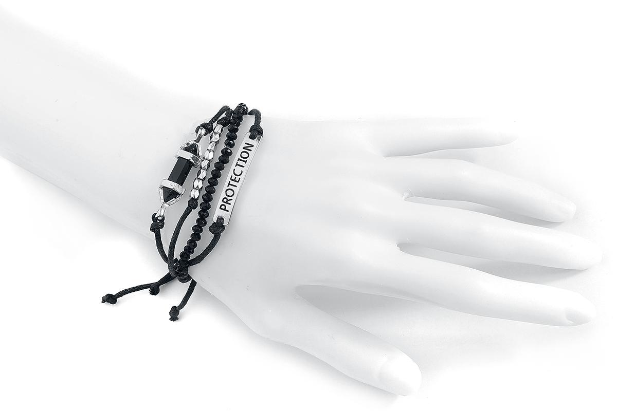 Image of Blackheart Black Onyx - Protection Armband-Set silber/schwarz