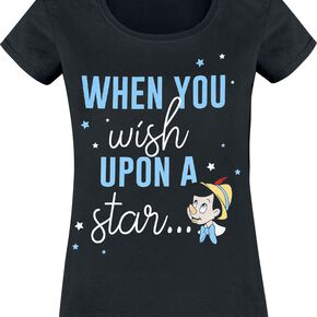 Pinocchio When You Wish Upon A Star T-shirt Femme noir