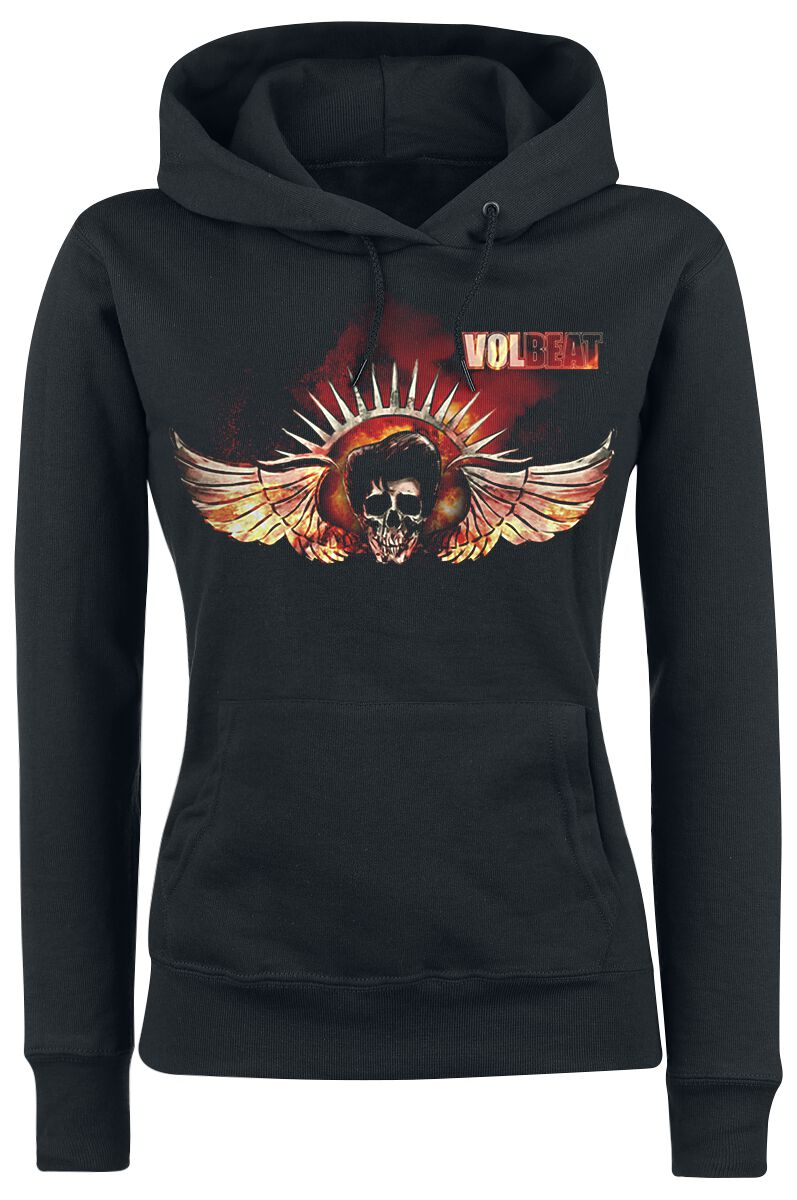 Image of   Volbeat Burning Skullwing Girlie hættetrøje sort