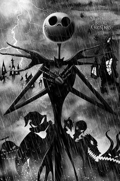 Image of   The Nightmare Before Christmas Storm Plakat sort-hvid