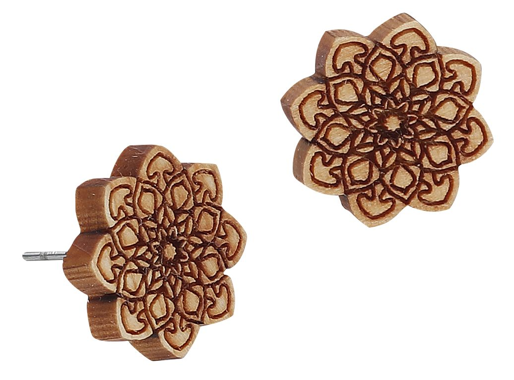 Ohrringe für Frauen - eydl Wood Jewelry Mandala Ohrstecker Set braun  - Onlineshop EMP